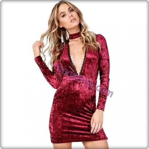 Kırmızı kısa parlak kadife elbise modelleri