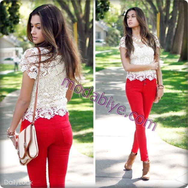 Kırmızı pantolon kombinleri dantelli bluz