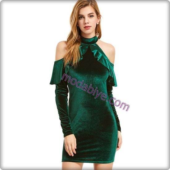 Kısa yeşil kadife elbise modelleri