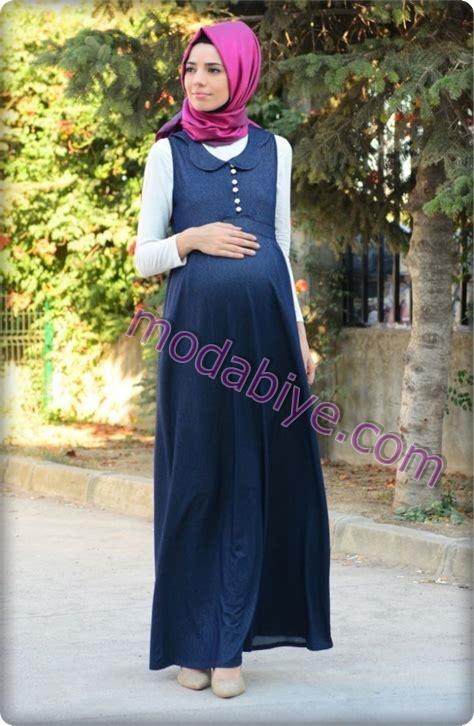 Lacivert tesettür hamile elbise modelleri