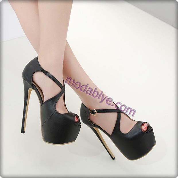 Platform taban yüksek topuklu siyah stiletto ayakkabı modelleri