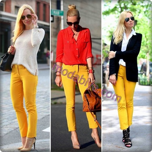 Sarı renk pantolon kombinleri