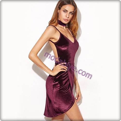 Sırt dekolteli askılı bordo kadife elbise modelleri