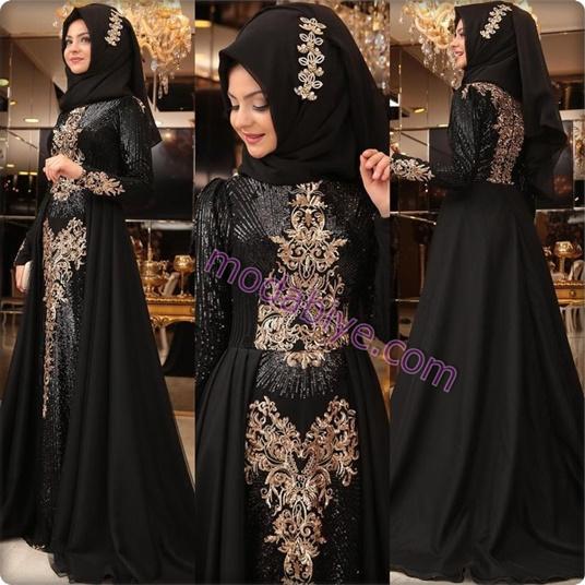 Siyah işlemeli tesettür kına elbisesi