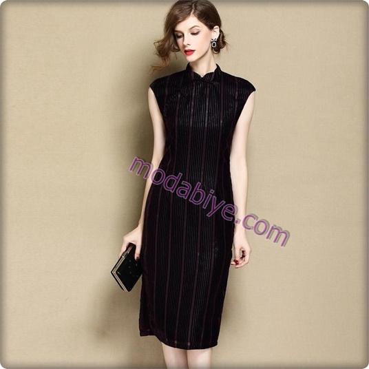 Siyah kadife elbise modelleri