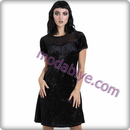 Siyah kısa kadife elbise modelleri