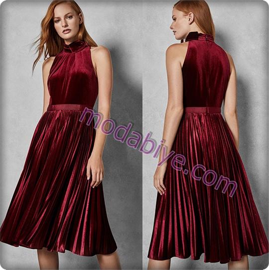 Uzun kırmızı kadife elbise modelleri