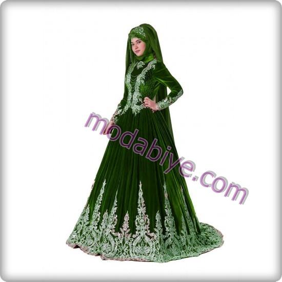 Yeşil tesettür bindallı kına elbisesi