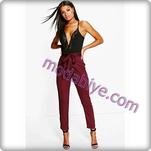 Yüksek bel ipli pantolon kombinleri