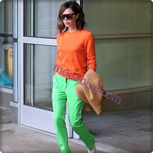 Zıt renk yeşil pantolon kombinleri