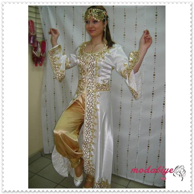 Altın pullu beyaz sarı osmanlı kıyafeti modern bindallı kaftan modelleri
