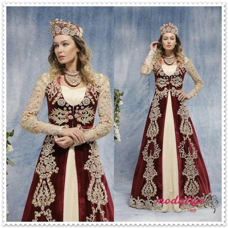 Hürrem sultan kaftan modelleri kırmızı tesettür kınalık nişanlık sultan elbisesi