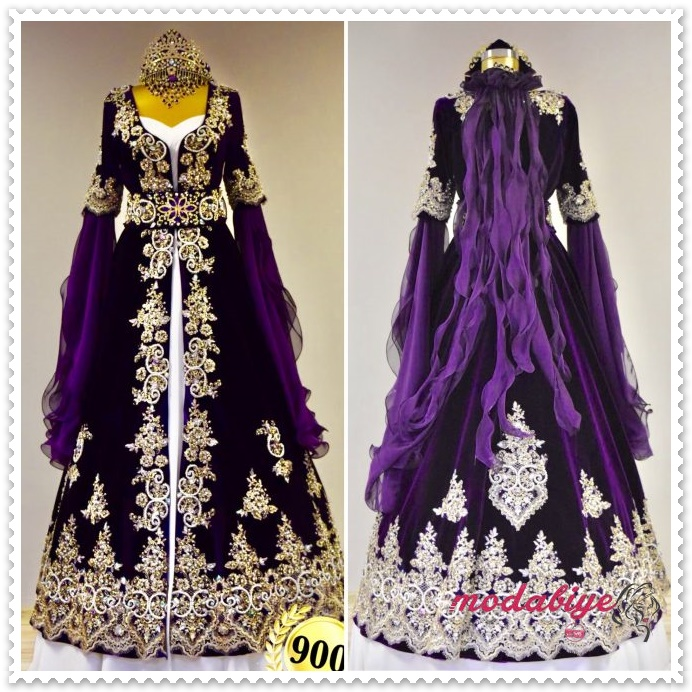 Lavanta moru dantel işlemeli hint kıyafeti bindallı modelleri
