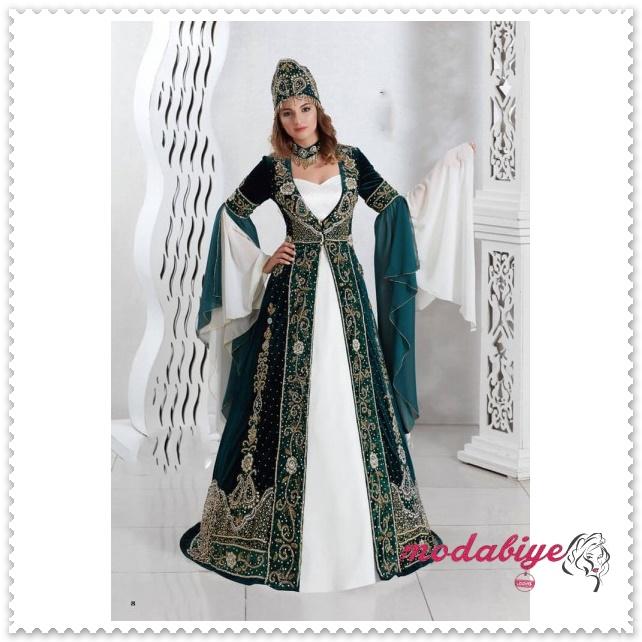 Yeşil bindallı kına elbisesi modelleri