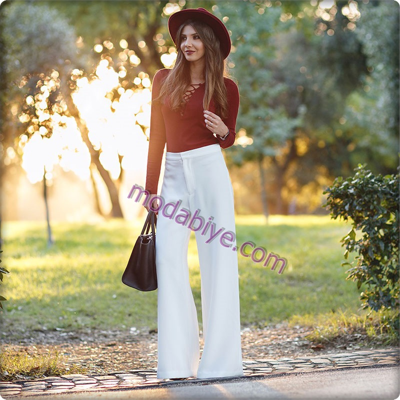 Beyaz İspanyol para pantolon kombinleri