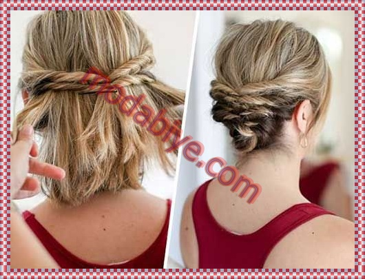 Kısa topuz abiye saç modeli