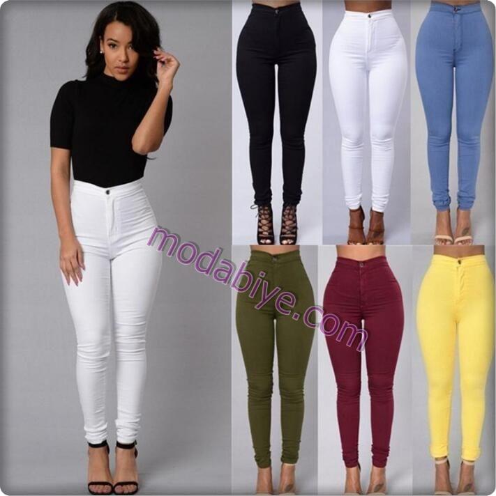 Renkli kalem pantolon kombinleri