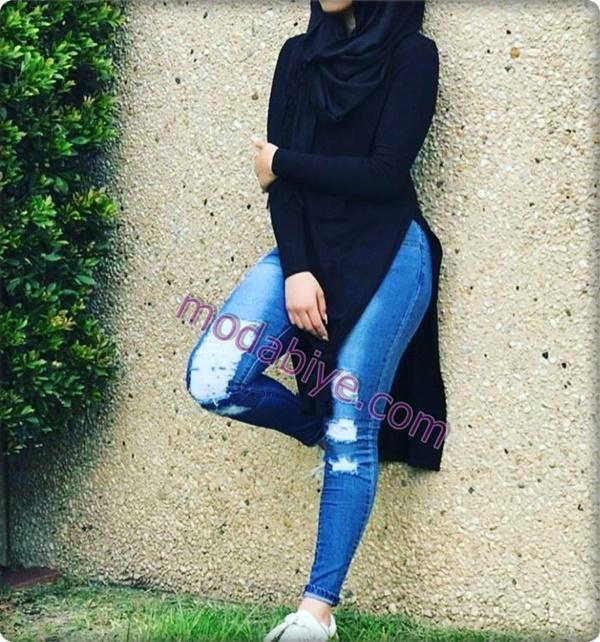 Siyah uzun tunik tesettür kot pantolon modelleri