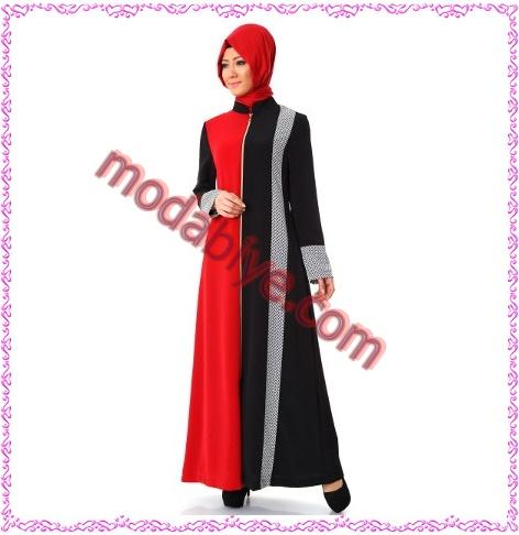 Desenli kırmızı siyah ferace modelleri