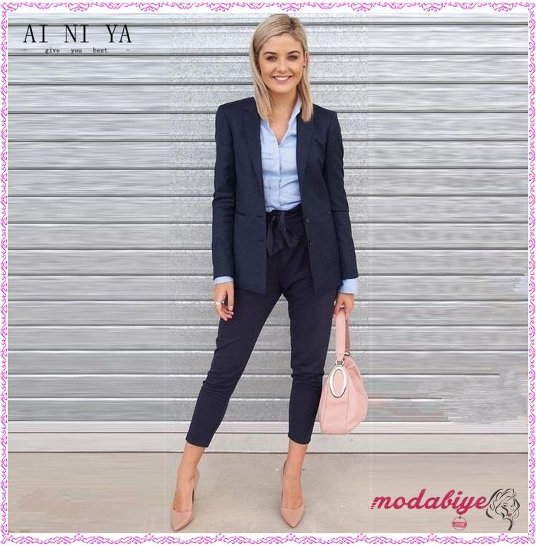İş görüşmesi için kadın pantolon kombinleri