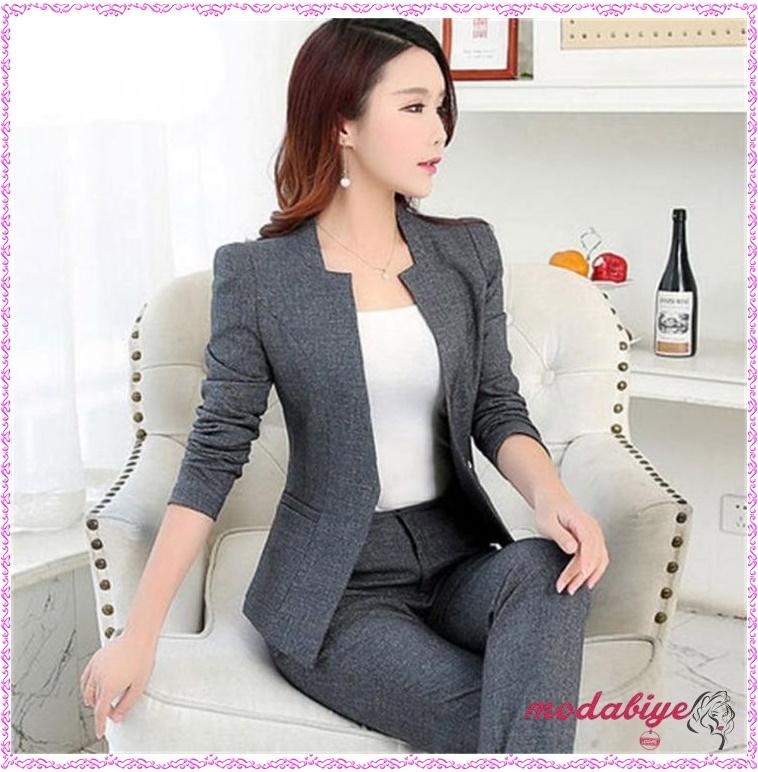 Kadın ofis kıyafetleri gri takım