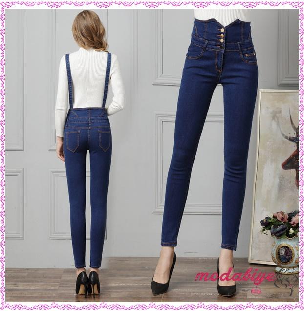 Askılı yüksek bel kot pantolon