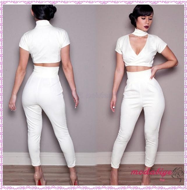 Beyaz takım yüksek bel pantolon