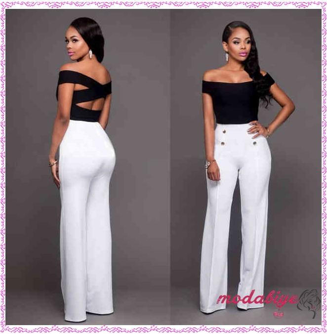 Beyaz yüksek bel pantolon kombin