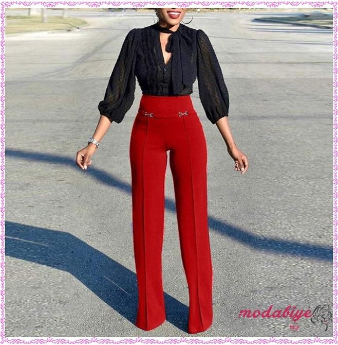 Kırmızı yüksek bel pantolon kombin