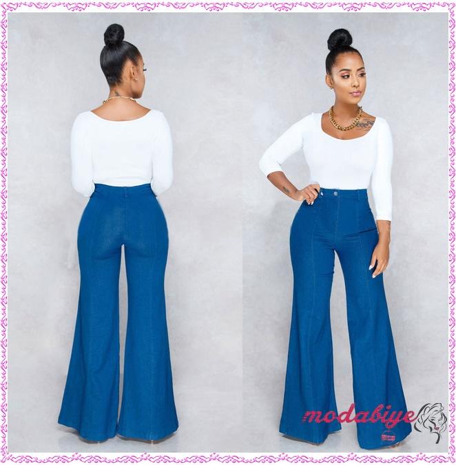 Mavi geniş bacak yüksek bel pantolon