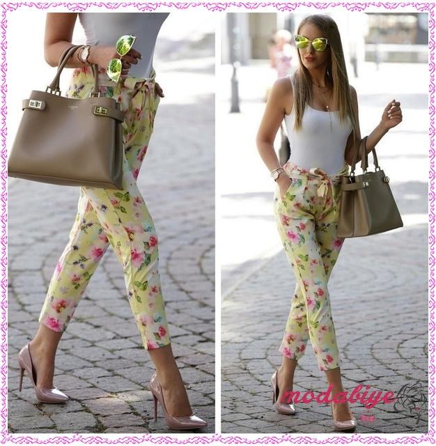 Sarı çiçek desenli pantolon kombin