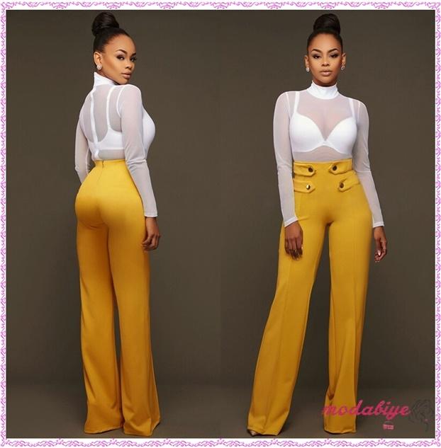 Sarı yüksek bel geniş bacak pantolon