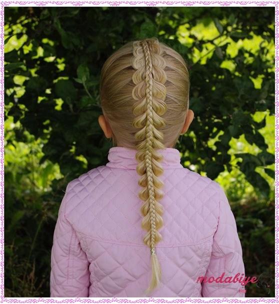 Küçük kız çocukları için balık sırtı saç modeli