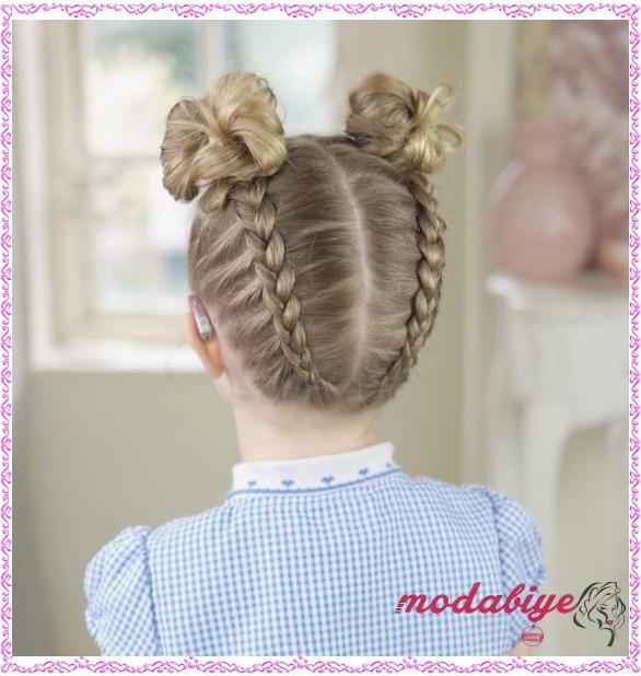 Topuz balık sırtı saç modeli küçük kız