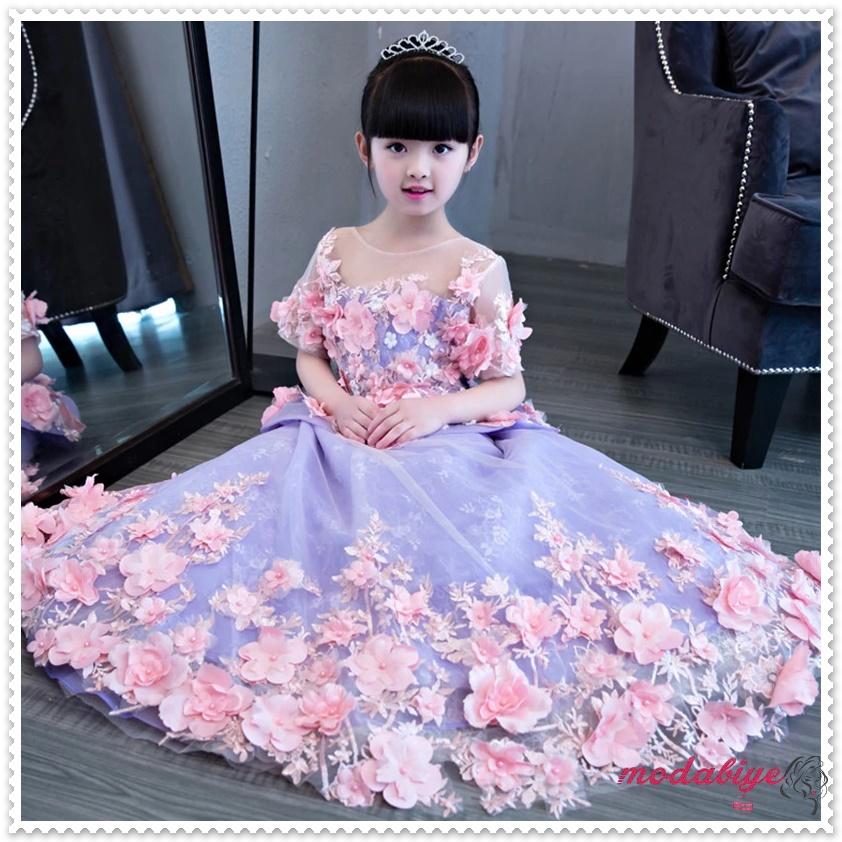 Çiçek Kız Elbise Düğün Balo için Komünyon Elbise Uzun Kraliyet Prenses Elbise