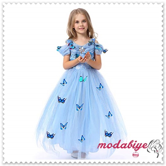 Kelebek desenli şifon uzun çocuk abiye elbise