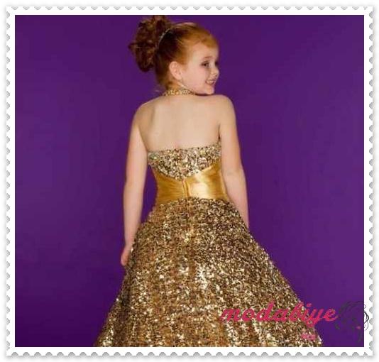 Kızlar için Lüks Şampanya Payetli Uzun Elbise Halter Kuşaklı Elbise