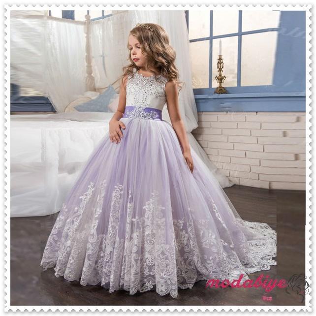 Menekşe Tül Çiçek Kız Elbise Uzun Balo Tül Boncuklu Küçük Kızlar için Çocuk Gece Elbisesi