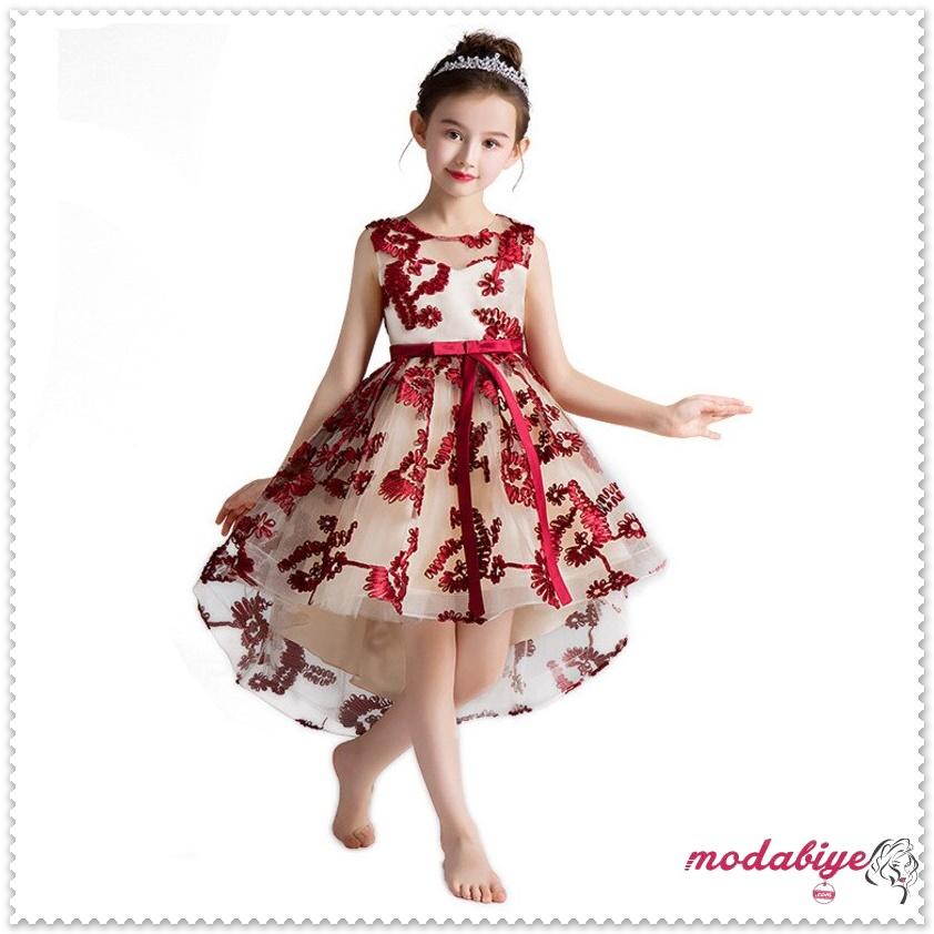 Önü kısa arkası uzun Prenses abiye Abiye Elbise Kırmızı desenli bej renk