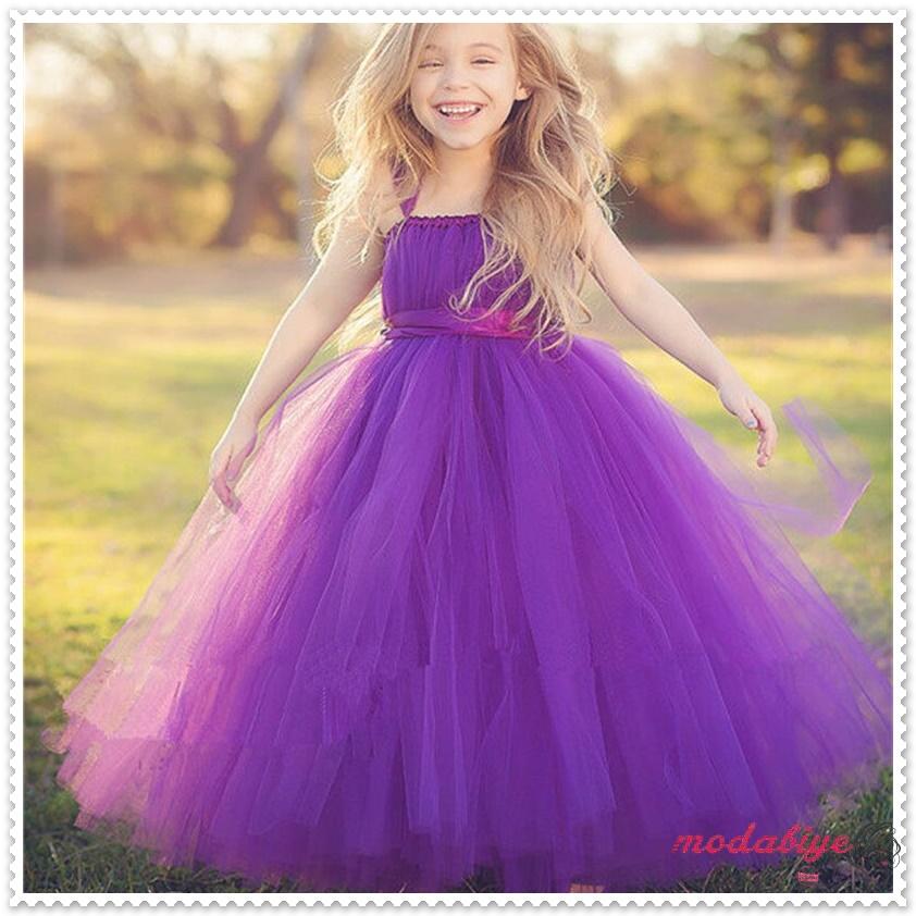 Prenses model mor çocuk abiye elbise Doğum Günü Akşam Balo Parti Tül Elbiseler