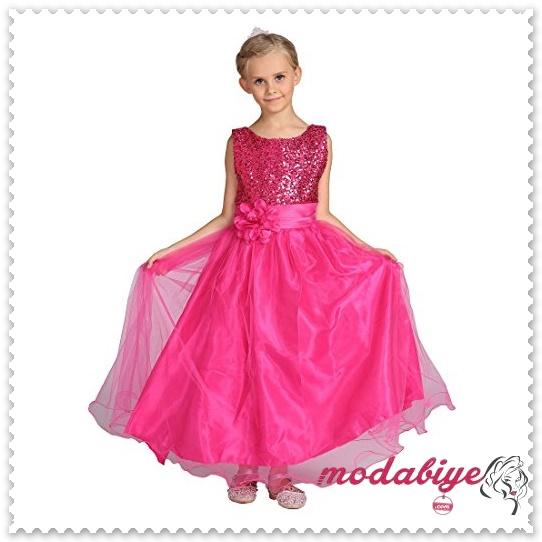 Pullu çiçek desenli pembe çocuk elbise modelleri
