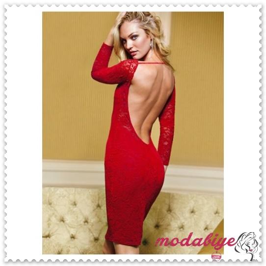 Sırt dekolteli kırmızı dar elbise modelleri