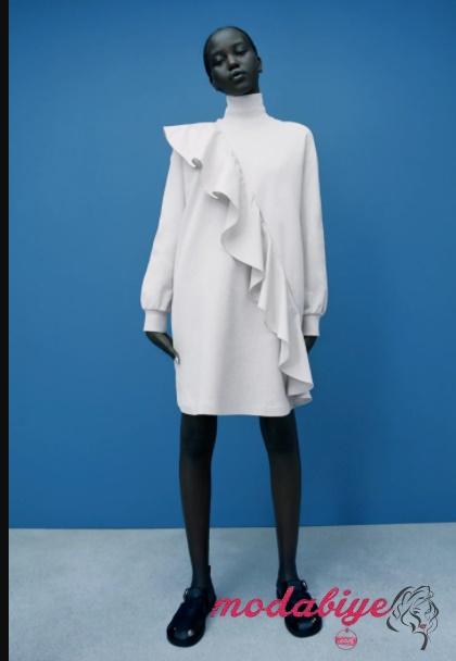 Zara volanlı kısa elbise fırfırlı şeritli mini elbise