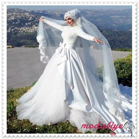 Sade beyaz dantelli tül uzun kabarık prenses mode tesettür gelinlik