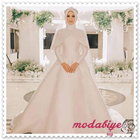 Sade düz beyaz prenses model tesettür gelinlik