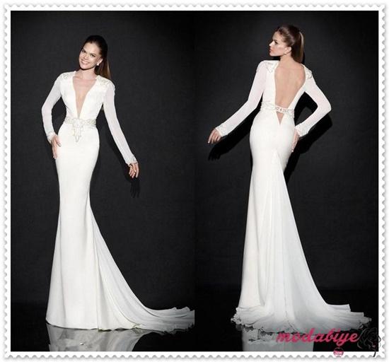 Beyaz Şifon Abiye Uzun Kollu Derin Dekolte V Yaka Boncuklu Elbise Modelleri