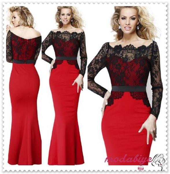 Kırmızı Üstü Siyah Dantelli Denizkızı Vücut Maxi Uzun Abiye Elbise