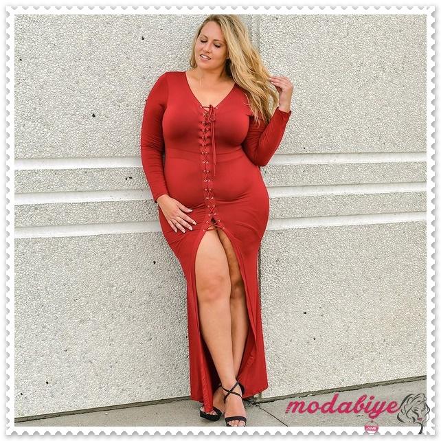 Büyük beden derin yırtmaçlı kırmızı elbise modelleri kilolu şişman kadılar nasıl giyinmeli