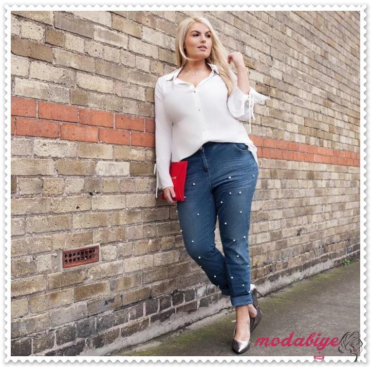 Büyük beden kot pantolon modelleri kilolu kadınlar kilolu şişman kadılar nasıl giyinmeli