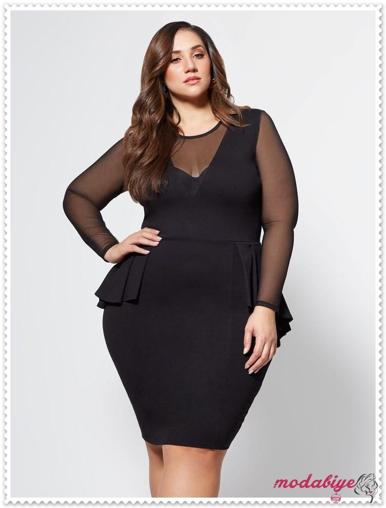 Büyük beden peplum siyah elbise modelleri kilolu şişman kadılar nasıl giyinmeli